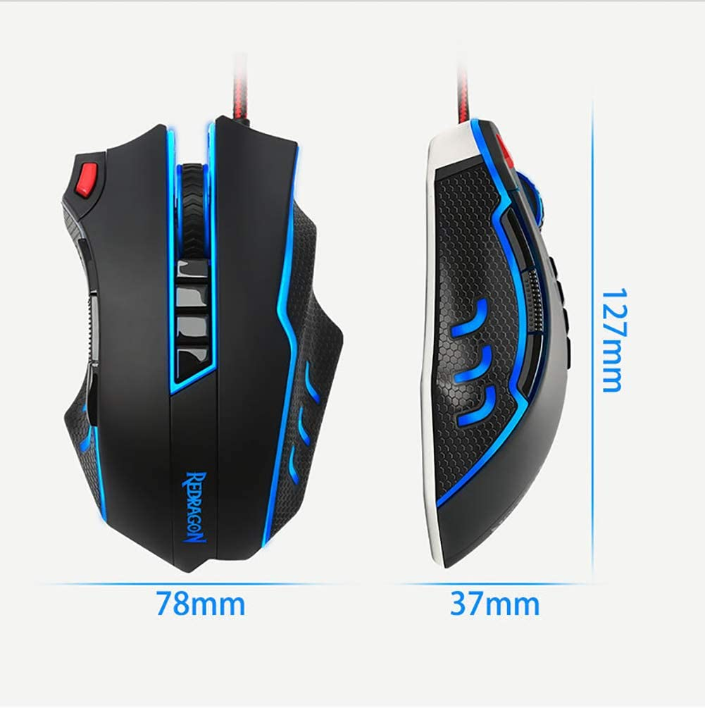 Suitable for LOL//PUBG//Wow//Dota//OW//Fps JXH Game Macro Programming Mouse with 10 Programmable Keys Ergonomic Design 1 Firepower Key 5 Weights