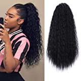 AISI BEAUTY Drawstring Curly Ponytail Extensions 22 inch Drawstring Ponytails for Black Women Clip in Wet and Wavy Ponytail(1B)