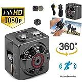 melyseu Mini fotocamera, 1080p HD portatile nascosta spia di fotocamera con visione notturna, rilevazione di movimento, supporta Max. 32 GB TF come Nanny fotocamera o di sorveglianza per casa e ufficio, Nero