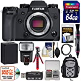 Fujifilm X-H1 Wi-Fi Digital Camera Body with 64GB Card + Battery + Backpack + Flex Tripod + Flash + Kit
