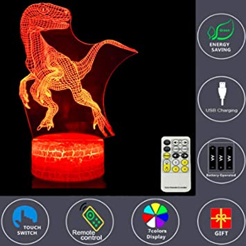 Home & Garden Juguetes Dinosaurios 7 Colores Cambiar Temporizador Remoto Niños Regalos Navida Great Varieties Lamps, Lighting & Ceiling Fans