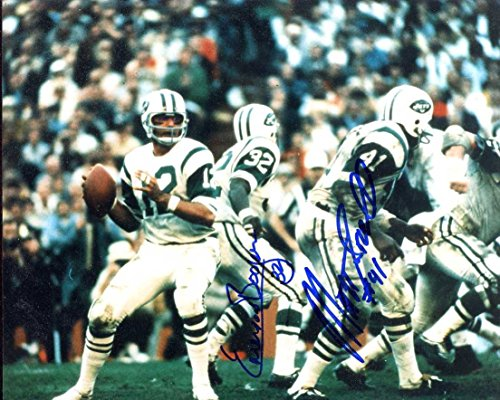 - New York Jets Matt Snell & Emerson Boozer Both Autographed/Original Signed 8x10 Color Action-photo Showing Joe Namath