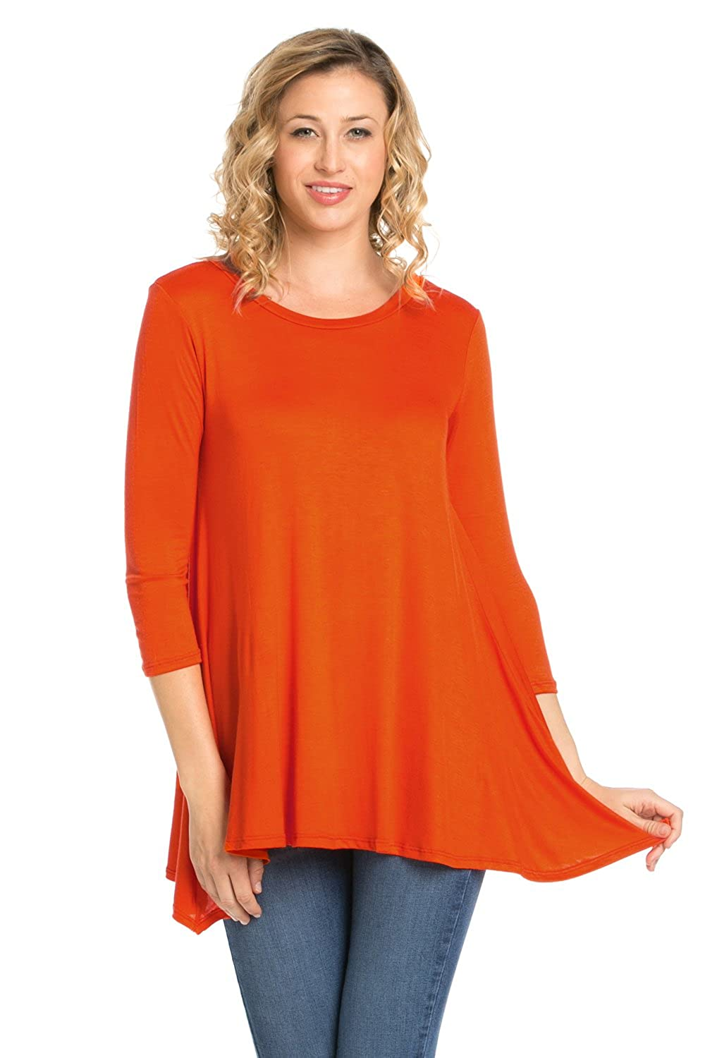 9a8bba2254c Made in USA This tunics for women is perfect to wear for leggings and  jeans. Round neck with 3/4 sleeve tunic tops for leggings for women
