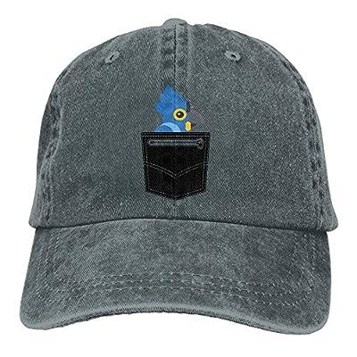 WHa12 Cap Pocket Parrot Cartoon Women Athletic Denim Cotton Adjustable Dad Hat Baseball Cap