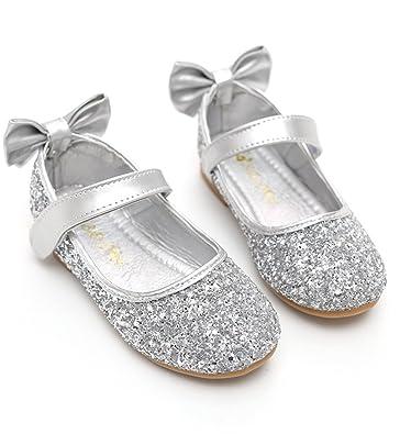 a4f5462ec08 DUSISHIDAN Kids Loafer Slip Rhinestone Fashion Glitter Ballet Flats Shoes  Silver