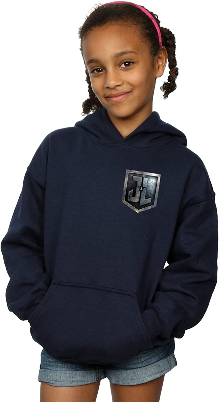 DC Comics Girls Justice League Movie Shield Faux Pocket Hoodie