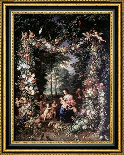 Holy Family W/Wreath of Fruit and Flowers by Jan Brueghel The Elder - 19.25