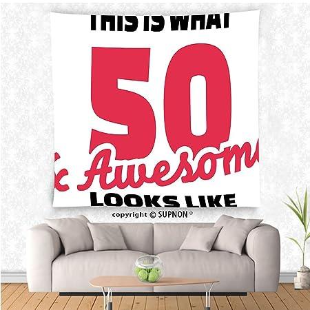 VROSELV Custom Tapiz Tapiz Decoración de 50º cumpleaños ...