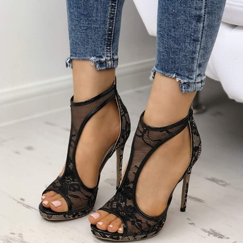 Xingmiao High Heels Sandals for Women Summer Open Toe T Strap Dress Sandals Lace Platform Stiletto Sandals