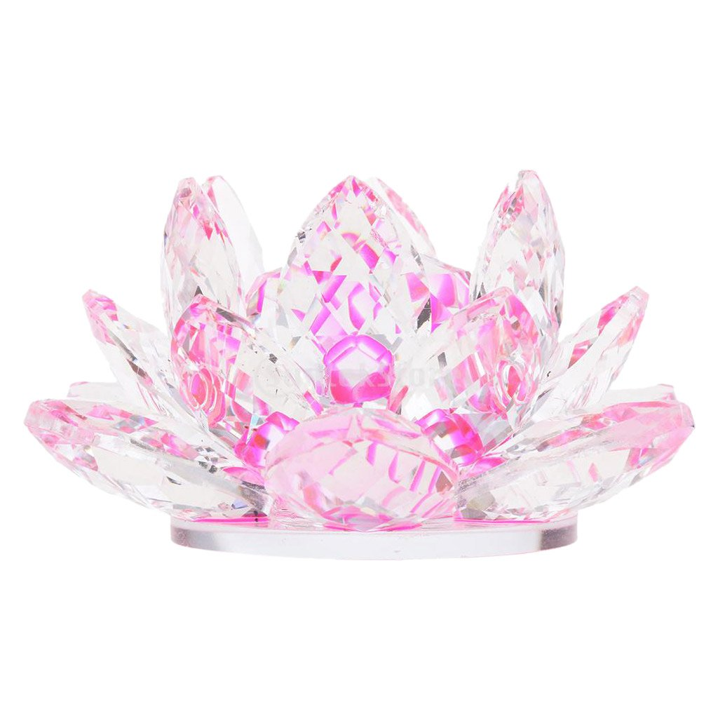 Baoblaze Crystal Lotus Flower Buddhist Ornaments Feng Shui Art Glass