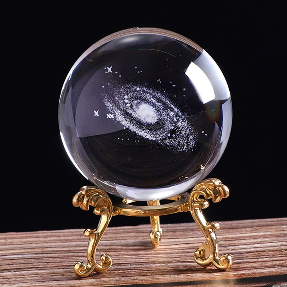 3D Galaxy Crystal Ball with Stand K9 Crystal Sphere Meditation Healing Feng Shui Crystal Ball for Birthday Home Office Decor (60MM Gold Base)