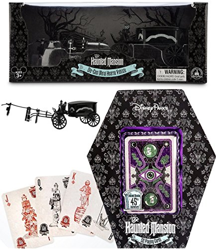 Disney Haunted Mansion Theme Parks Metal Hearse Replica Die-Cast Model & Walt Disney Deck of Playing Cards (Glow in the Dark) Exclusive 2-Pack