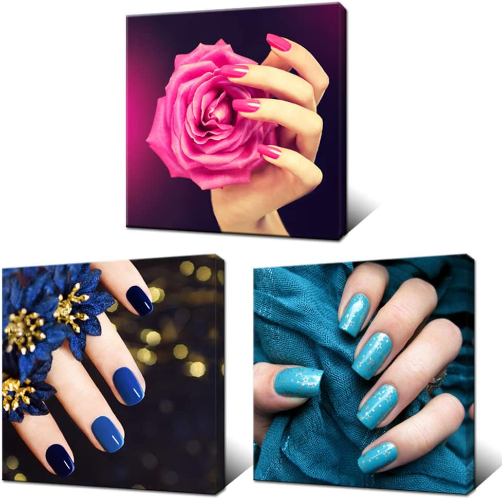 Innopics 3 Pieces Modern Canvas Wall Art Fashion Woman Beauty Salon Painting Picture Nail Hand Spa Artwork Makeup and Manicure Poster Bedroom Decor Stretched Ready to Hang