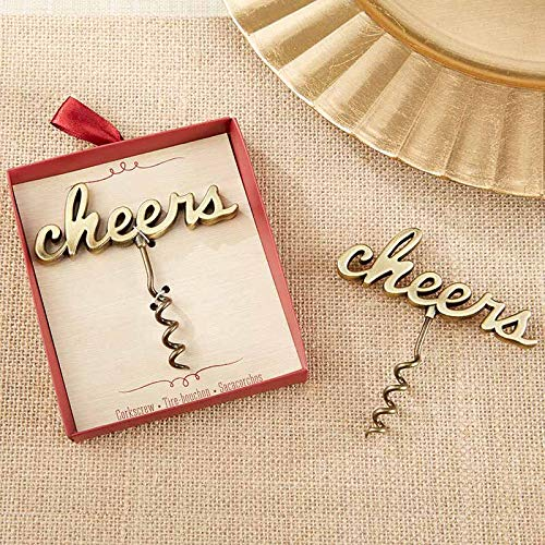 Kate Aspen Antique Gold Cheers Corkscrew - Set of 12 - Perfect Party Favor for Weddings, Bridal Shower Favor or Guest Gifts]()