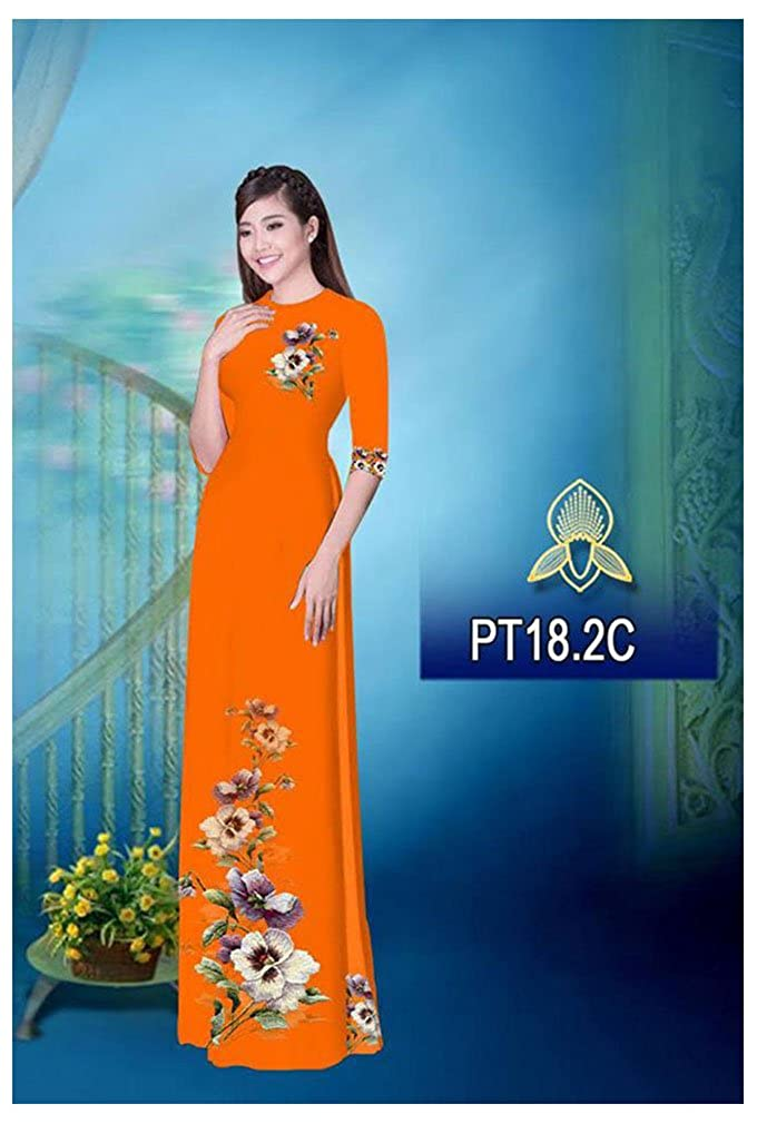 Traditional Vietnamese Long Dress Collections with Pants All Size Silk 3D Ao Dai ADVN00445