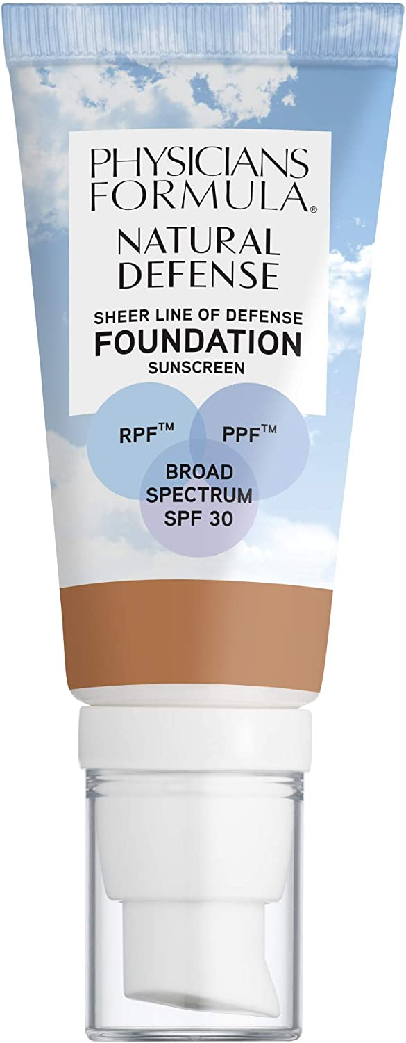 Physicians Formula Natural Defense Sheer Line of Defense Foundation SPF 30, Medium-to-Tan, 1 Ounce