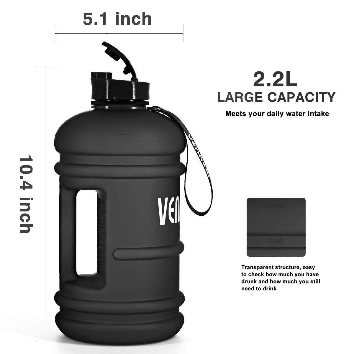 VENNERLI Half/Gallon/Water Bottle 73 oz Sport Water Jug 2.2L Leak/Proof BPA/Free Hydro Bottle for Gym Yoga Travel Cycling Camping