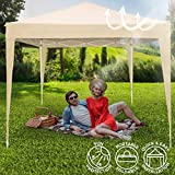 Gazebo 3x3 m with Folding Mechanism | Waterproof, Height Adjustable up to 2.5 m, from Stainless Steel with Carry Bag Included | Garden Pavilion Tent Marqee Party Barbecue Event Sun Protection (Beige)