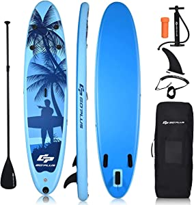 """Goplus Inflatable Stand Up Paddle Board, 6.5"""" Thick SUP with Premium Accessories and Carry Bag, Wide Stance, Bottom Fin for Paddling, Surf Control, Non-Slip Deck, for Youth and Adult"""