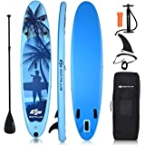 "Goplus Inflatable Stand Up Paddle Board, 6.5"" Thick SUP with Premium Accessories and Carry Bag, Wide Stance, Bottom Fin for P"
