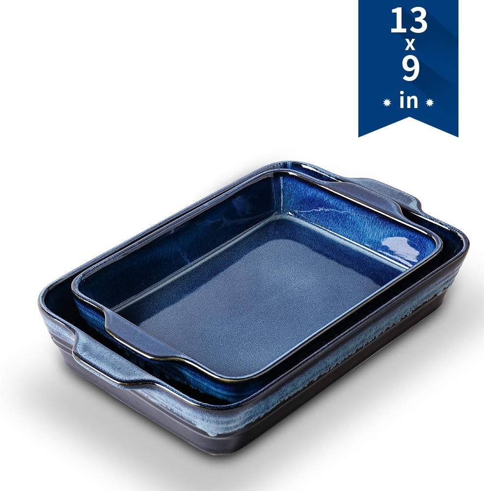 Bakeware Set, KOOV Ceramics Baking Dish Set, Rectangular Lasagna-Pans for Cooking, Cake Dinner, Kitchen, 9 x 13 Inches, Wrapping Upgrade, Reactive Glaze 2-Piece (Nebula Blue)