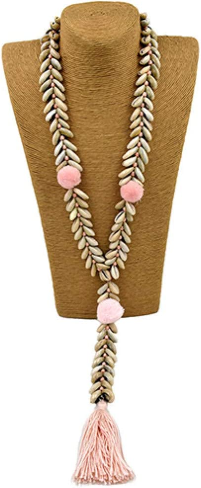 GAJSDJHN Necklace Jewelry Handmade Cowrie Shell Beaded Chain Necklacepompoms Long Fringe Tassel Pendants Necklace for Women Summer