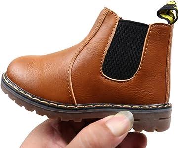 NEEDRA - Botas de Piel para niño, Color Marrón, Talla 39 2/3 ...