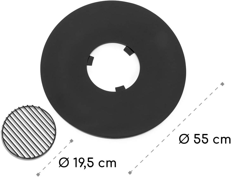 Plancha esmaltada filetes blumfeldt Heat Disc Plancha Circular con Parrilla Preparar Salchichas Di/ámetro de 57 cm Superficies Lisas brochetas de Verduras o Queso Parrilla de Acero Negro