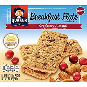 Quaker Breakfast Flats, Cranberry Almond, Breakfast Bars, 5 Pouches, 3 Bars in Each Pouch
