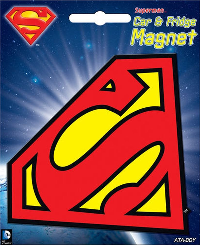 Ata-Boy DC Comics Die-Cut Superman Logo Magnet for Cars, Refrigerators and Lockers