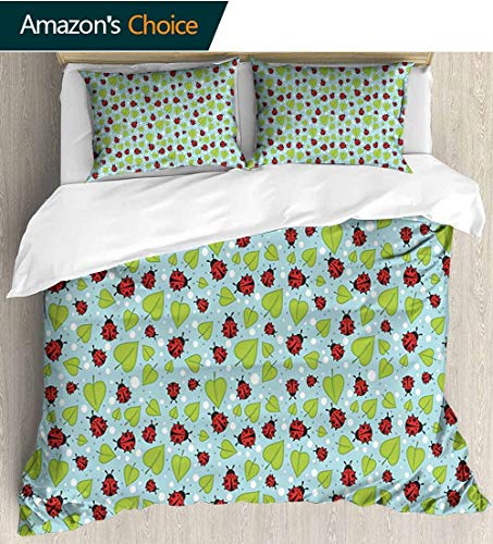 (Ladybugs Modern Pattern Printed Duvet Cover,Polka Dots Pattern with Leaves and Beetles Summer Season Inspired Nature Cartoon 100% Cotton Beding Linens for Kids Children 79