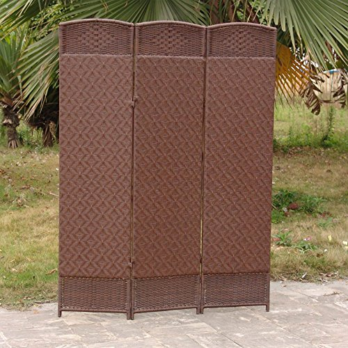 Outdoor/Indoor Woven Resin 3 Panel Room Divider - Cappuccino (Resin Panel)