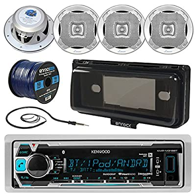"""Kenwood KMR-M318BT In-Dash Marine Boat Audio Bluetooth USB Receiver W/ Waterproof Protective Cover Bundle Combo With 4x 400W 6.5"""" Coaxial Speakers + Radio Antenna + 16g 50FT Speaker Wire"""