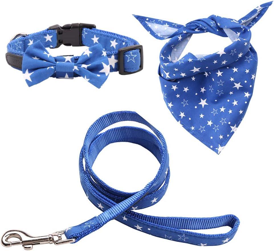Rayzm Collar de Algodón/Correa y Pañuelo Set de 3PC para Perros Pequeños, Collar con Pajarita Extraíble, Bandana de Cuello Ajustable para Perros, Gatos y Mascotas(S)