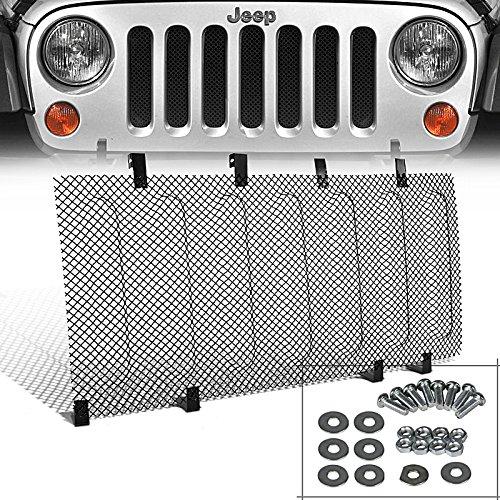 Stainless Grill Insert Kit (Spec-D Tuning HBG-WRG07SSJM Jeep Wrangler JK Black Stainless Steel Mesh Hood Grille Insert Kit)