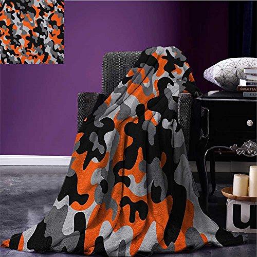 Camo Custom blanket Vibrant Artistic Camouflage Lattice Like Service Theme Modern Design Print all weather blanket Orange Grey Black size:51