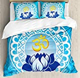 Is Eastern King the Same As King Anzona King Size Chakra 3 PCS Duvet Cover Set, Eastern Spiritual Design Lotus Flower Petal Mystical Powers Nature Print, Bedding Set Bedspread Children/Teens/Adults/Kids, Pale Blue