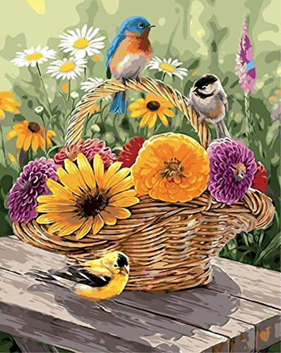 ABEUTY DIY Paint by Numbers for Adults Beginner - Bird & Flower Basket 16x20 inches Number Painting Anti Stress Toys (No Frame)