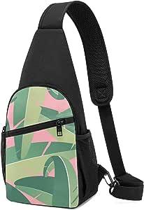 PGTry Tropical Banana Hojas Background Sling Bag Mochila ligera para el hombro, mochila cruzada, bolsas de viaje, senderismo, para hombres y mujeres