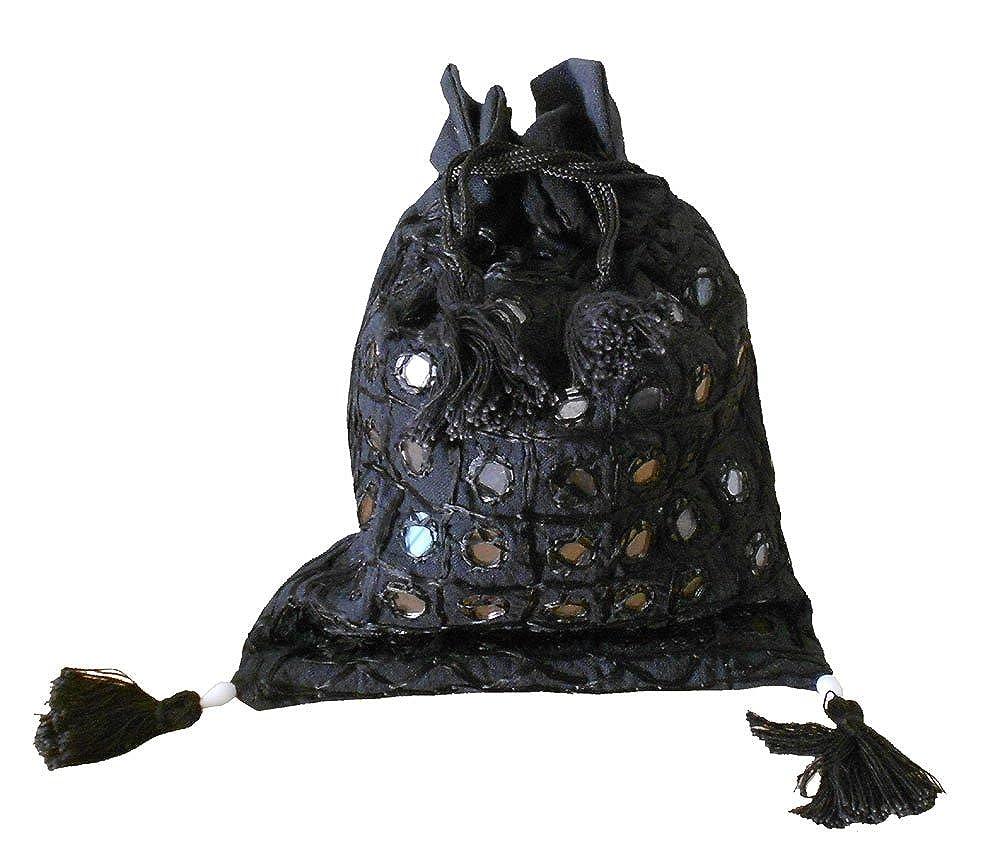 8 X 6 Indian Embroidered Handcrafted Womens Shoulder Bag Black Color Cotton