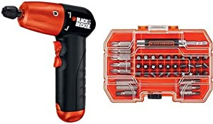BLACK+DECKER AD600 6-Volt Alkaline 1/4-Inch Hex Cordless Drill/Driver wit with BLACK+DECKER BDA42SD 42-Piece Standard Screwdriver Bit Set