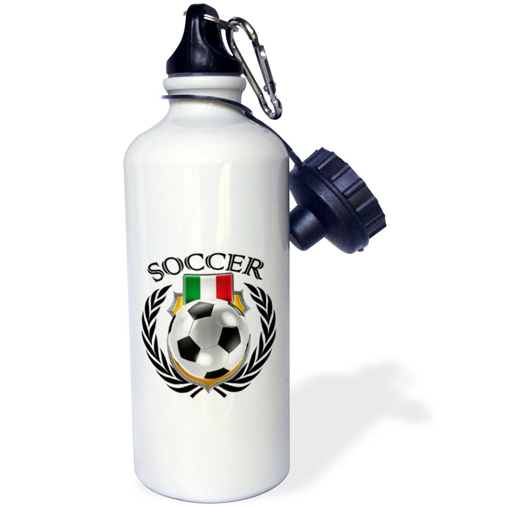 3dRose wb/_239683/_1Iceland Soccer Ball with Fan Crest Water Bottle White