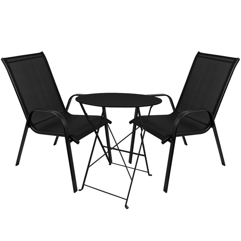 3er Set Bistromöbel Klapptisch Ø60cm rund 2x Stapelstühle Stahlgestell pulverbeschichtet mit Textilenbezug Gartenmöbel Sitzgruppe Sitzgarnitur