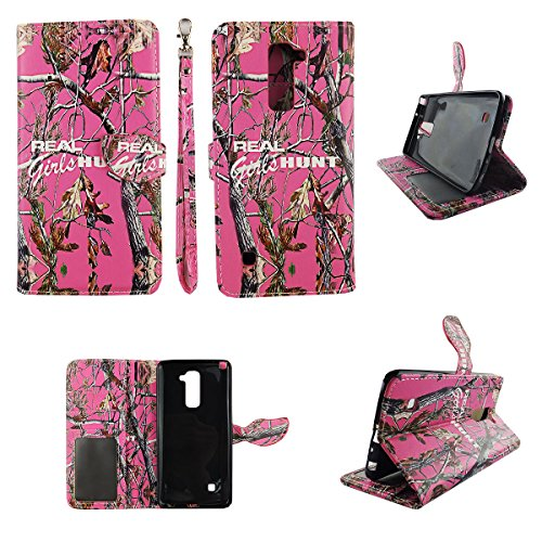 Camo Real Girls Hunt Wallet Folio Case for LG Stylo 2 Plus 2+ Dual Layer Interior Design Flip PU Leather Cover Card Cash Slots & Stand (Lg Flip Phone Cases Camo)