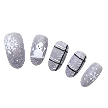 Amazon.com : 24 Pcs of 12 Different Sizes Handmade Little Snowman Series Finger Fake Nail for Christmas : Beauty