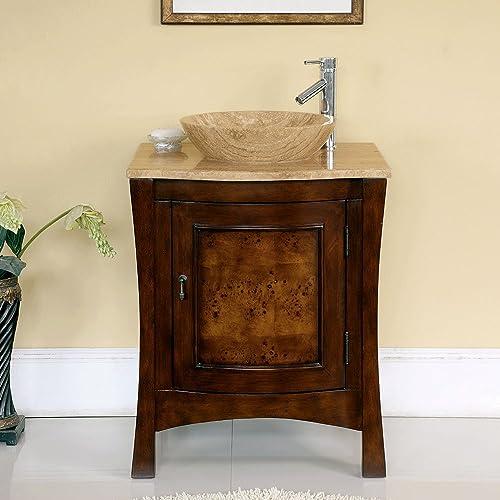 Silkroad Exclusive HYP-0714-T-TT-26 Travertine Top Modern Sink Vessel Bathroom Vanity