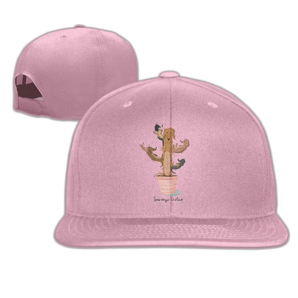 Aiguan Sausage Cactus Flat Visor Baseball Cap, Fashion Snapback Hat Black