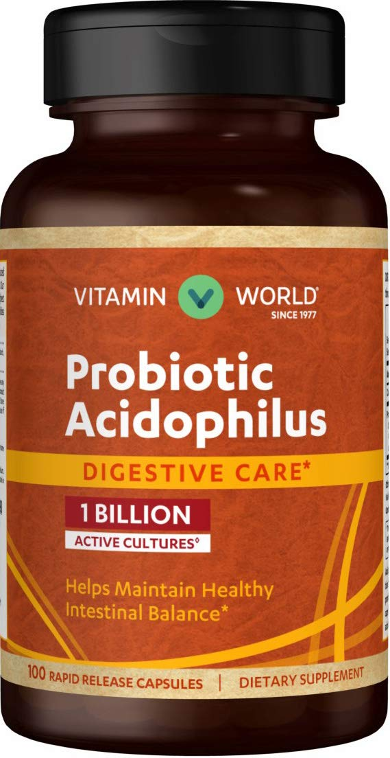 Vitamin World Probiotic Acidophilus 1 Billion 100 Capsules, Intestinal Support, Digestion Health, Rapid-release, Gluten Free
