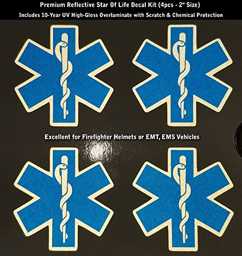- High Performance Vinyl Graphics LLC Reflective Blue Star of Life Decal Kit 4pcs IAFF Fire Helmet EMS EMT 2