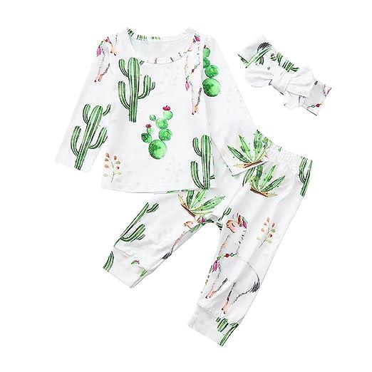 a48643a6a7dc Amazon.com  XUANOU Baby Long Sleeve Flower Print Top Pants Hairband 3PC Set  Newborn Boy Girl Floral Tops+Pants Headband Cloth Sets  Clothing